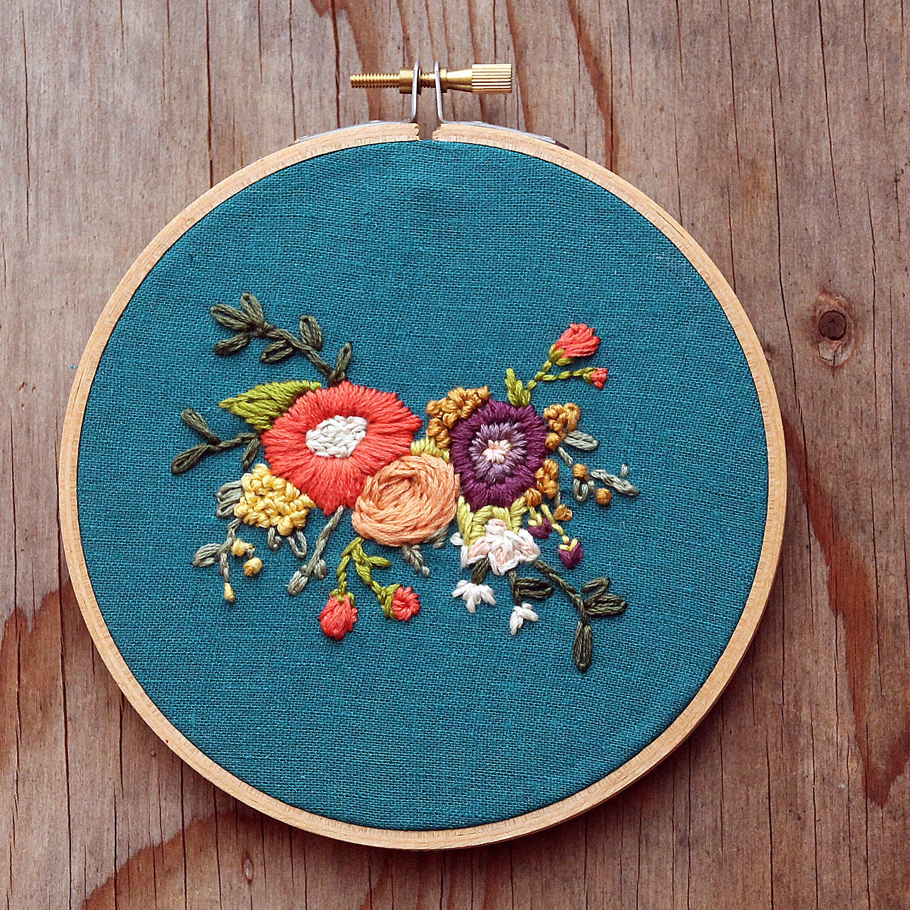 Reserved for lindsay floral bouquet embroidery hoop art