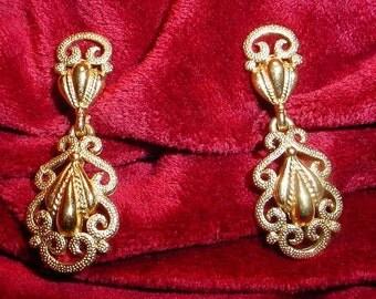 Crown Trifari Gold Scrollwork Earrings