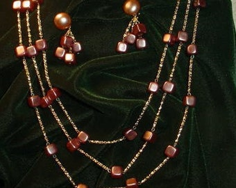 Vintage Three Strand Necklace w Brown Beads