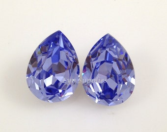 18x13mm 4320 PROVENCE LAVENDER Crystal Teardrop Fancy Stone 2pcs Optional Sterling Silver Plated Pendant Setting