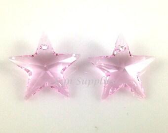6714 ROSALINE 20mm Swarovski Crystal Star Pendant, 2 pieces Light Pink Star