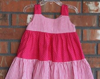 24months/2T - Pink Plaid with Pink Spots Sun Dress