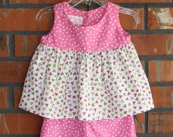 Little Girl's 2 Piece Set - Pink Spots & Multicolor Hearts With Pink Spotted Cotton Shorts