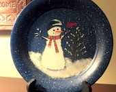 Hand Painted Enamelware Plate with Hand Crafted Plate Stand