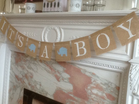 baby shower or birth its a boy burlap banner quality handmade item