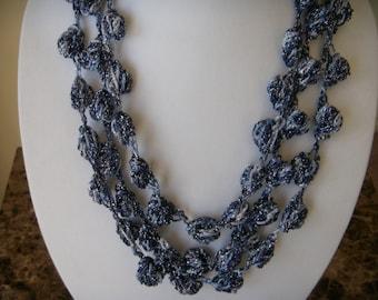Three/Four Tier Navy/Blue Sparkle Bobble Necklace