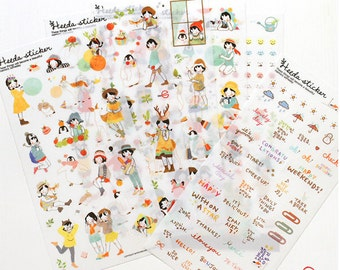 Set of 6 sheets Grils Stickers -deco translucent sticker- Deco Stickers - Diary Sticker--6 sheets