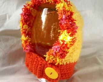 Crochet Baby Hat Soft Yellow Orange Pink Fleecey Infant Girl Cozy for the Noggin Chemo Cap