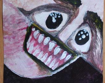 Full of Teeth - Creepy Painting by Eilidh Morris Art - Horror Face Lowbrow Artwork Original