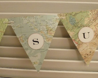 Vintage Map Banner, Travel theme Decoration, Map Bunting - Customized Your Wording