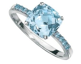 Diamond Sky Blue Topaz Engagement Ring // Diamond and White Gold Engagement // Blue Topaz Ring // December Birthstone