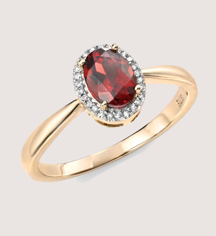 diamond garnet cluster ring january birthstone by poshdiamonds. Black Bedroom Furniture Sets. Home Design Ideas