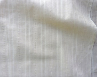 "Light Tan Ivory Sheer with Subtle Stripes Cotton Blend Fabric. 44"" wide x 59"""
