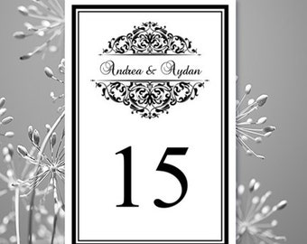 Printable Wedding Table Numbers Grace Black White 4 X 6 Word Editble