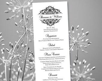 Printable Wedding Menu Template In Grace Black Editable Worddoc Instant Download Full