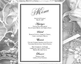 Wedding Menu Marquesa Black White Printable Template Make Your Own Menus Word
