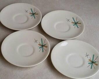 4 Vintage Atomic Star Salem North Star NORTHSTAR Saucer Plates