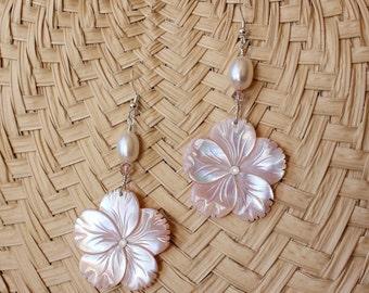 Pearl Plumeria Earrings, Plumeria Carved Shell Earrings, Hawaiian Plumeria Earrings, Beach Wedding Earrings, Frangipani Pearl Earrings