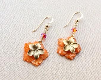 Orange Plumeria Earrings, Plumeria Shell Earrings, Frangipani Earrings, Gold Charm Plumeria, Hawaiian Plumeria Earrings, Gift for Her