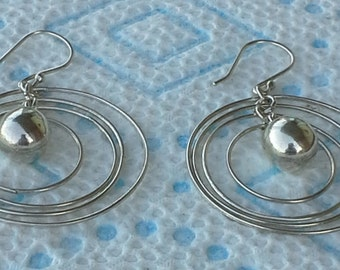 Handmade trendy multi circles silver wire earrings