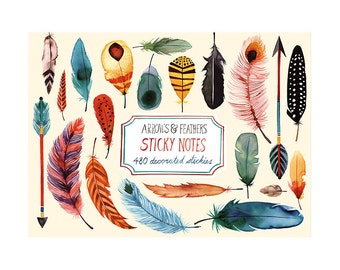 Arrows and Feathers Sticky Notes Set - set of 480 post it memo notes