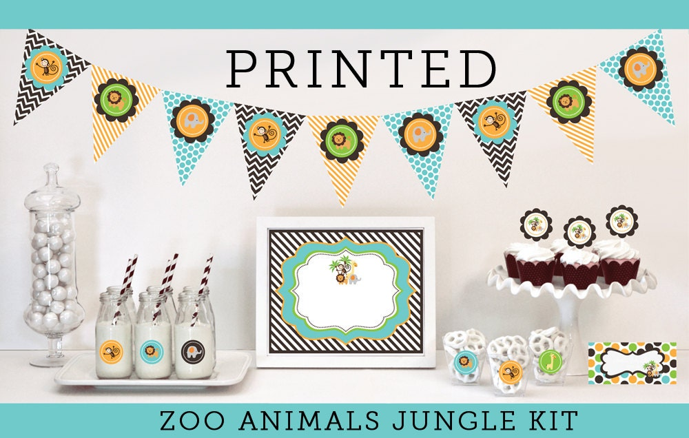 Baby Shower Themes Zoo Animals ~ Zoo animal birthday decorations jungle baby by modparty