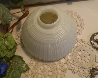 Vintage Art Deco Milk Glass Ribbed Light Lamp Shade