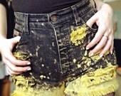 SALE! Customised reworked WRANGLER 'Lemon-fizz' dyed shorts