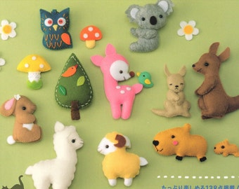 Japanese Felt Mascot Toy Accessories Sewing Pattern e-Book Instant Download Animal Cat Hamster Squirrel Dolphin Kangaroo Lamb Rabbit Sheep