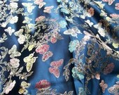 Blue floral brocade fabric with butterflies (2 1/3 yard piece)