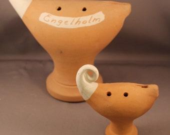 Very Beautiful Pair Of Ocarinas Clay Vessel Flutes ENGELHOLM Sweden Design by Klas Svenssonn Ängelsberg