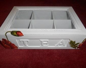 Wooden Poppy Tea Box, Jewelry Box, Gift, BONUS: two coasters