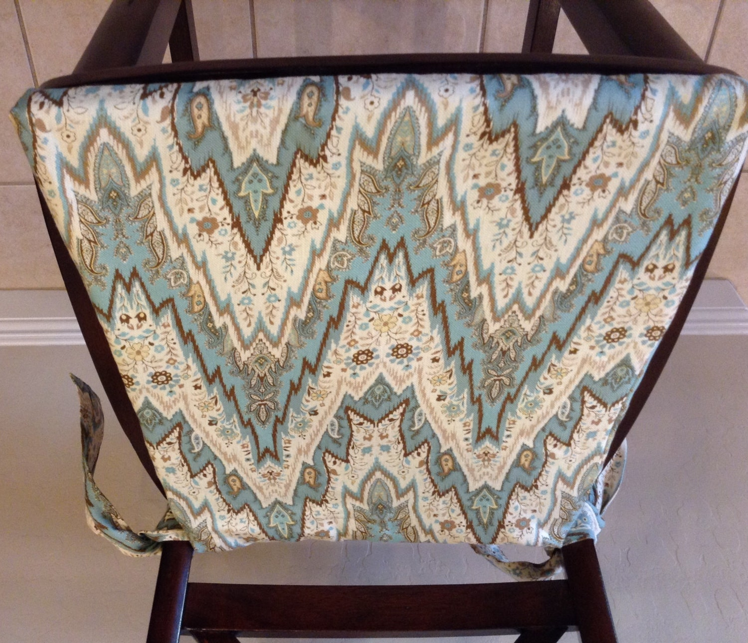 Teal linen cream and brown chair cushion cover washable for Teal and brown chair
