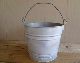 Painted Galvanized Metal Bucket Pail Can White Rustic
