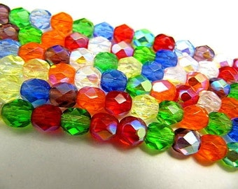 Czech Glass Beads, Faceted, 6mm, Fire Polish Round,19 Piece Strand, Bead Sale, Rainbow Mix, Czech Crystal, Wire Wrapping, Bead Stringing