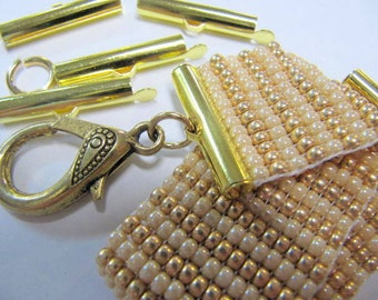 End Caps Slider Clasps, One Inch, Gold Color, Loom Bead Patterns, Loom Findings, Lot Sizes, 26 MM, 6 or 12 Package, Look Is Clean and Neat