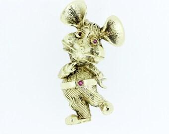 10K Gold Dancing Mouse Brooch