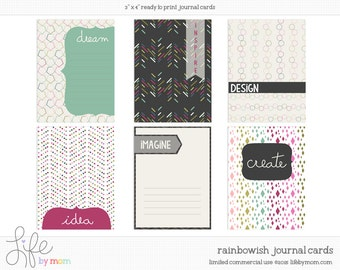 Rainbowish Digital Journal Cards - 3x4 project life printable scrapbooking journaling note cards - instant download - CU OK