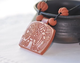 Polymer jewelry, Terracotta necklace, Jewelry, Handmade jewelry, Polymer necklace, Terracotta jewelry