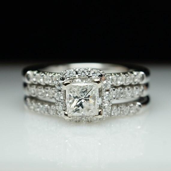 Princess Cut Square Halo Diamond Engagement Ring by JoyGlowJewelry