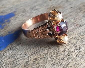 Amazing rhodolite conversion ring