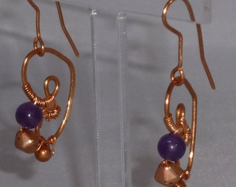Copper and Amethyst Earrings