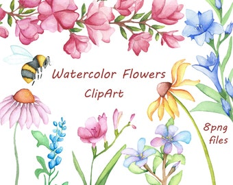 Watercolor Flowers Clipart, Digital Clipart, watercolor clipart, watercolor clip art, Hand Painted clipart, PNG, Personal and Commercial use