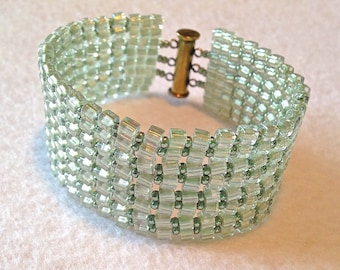 Lime Green Beaded Cuff Bracelet for perfect St. Patrick's Day or Any Day