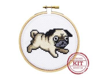 Pug DIY Cross Stitch Kit