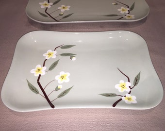 Weil Ware Platters 13x9 11x7 ~ Pattern - Blossom ~ Made in USA