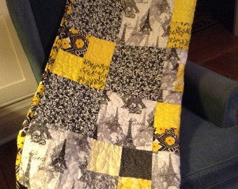 Quilt, Parisian Winter of black, grey and yellow hues to cuddle up in this handmade patchwork lap quilt