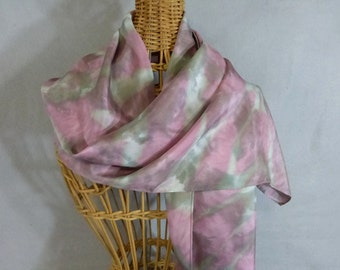 """Hand Painted Silk Scarf """"Rose and Gray Marble"""""""