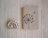 dandelion passport cover - original passport case holder with hand embroidery - travel accessories for woman traveller - ooak gift for her