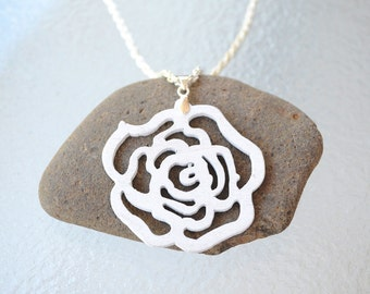 White laser cut flower necklace, large wooden flower pendant on silver chain